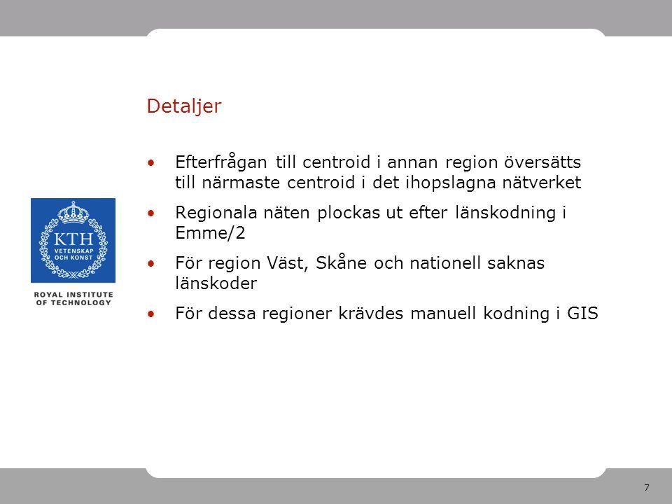 7 Detaljer Efterfrågan till centroid i annan region översätts till närmaste centroid i det ihopslagna nätverket Regionala näten plockas ut efter länsk