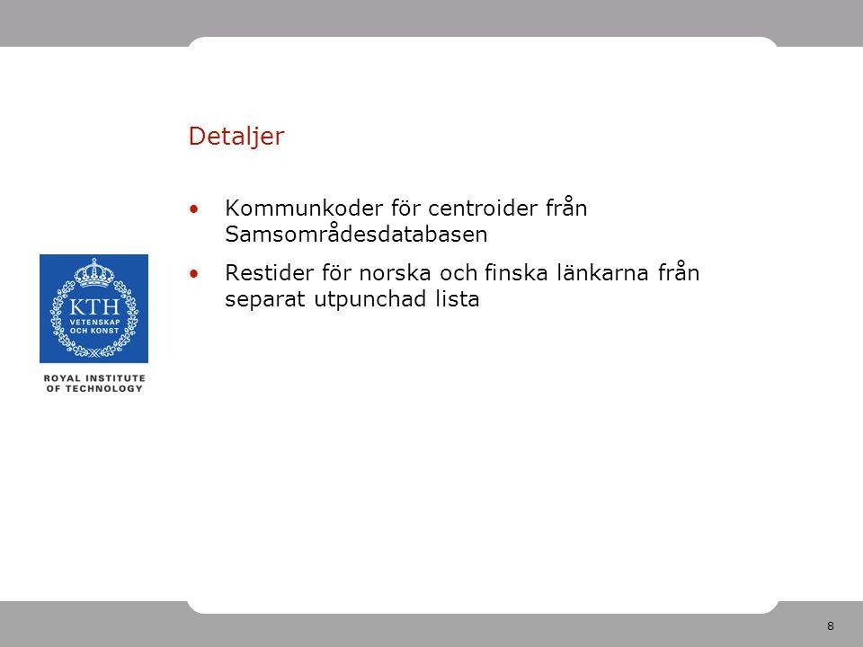 8 Detaljer Kommunkoder för centroider från Samsområdesdatabasen Restider för norska och finska länkarna från separat utpunchad lista