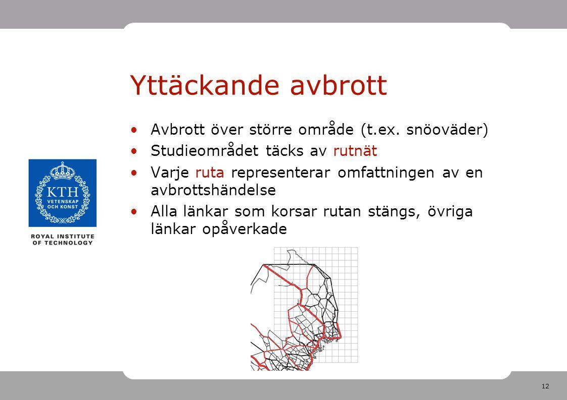 12 Yttäckande avbrott Avbrott över större område (t.ex. snöoväder) Studieområdet täcks av rutnät Varje ruta representerar omfattningen av en avbrottsh