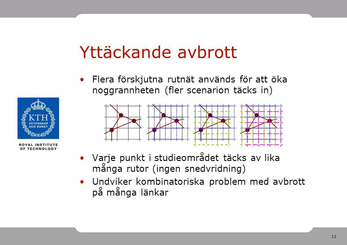 13 Yttäckande avbrott Flera förskjutna rutnät används för att öka noggrannheten (fler scenarion täcks in) Varje punkt i studieområdet täcks av lika må