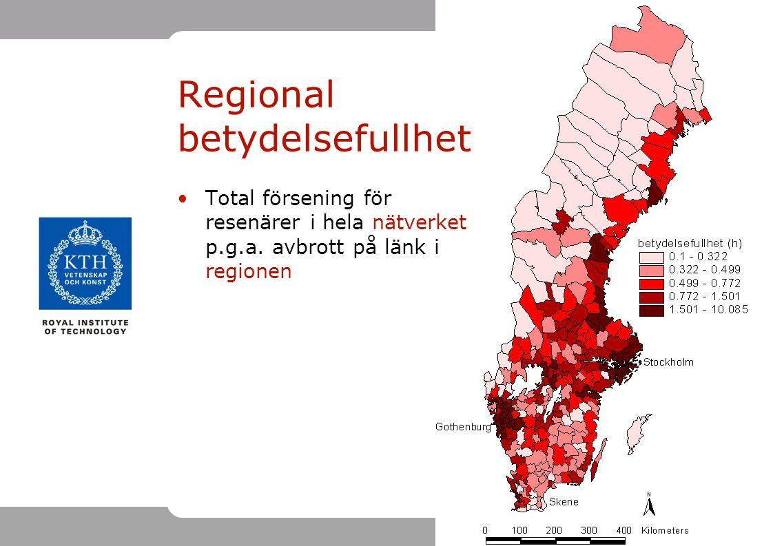 19 Total försening för resenärer i hela nätverket p.g.a. avbrott på länk i regionen Regional betydelsefullhet
