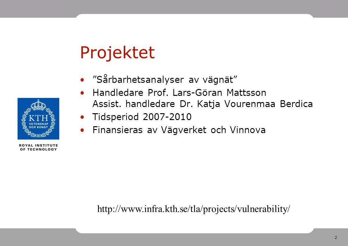 """2 Projektet """"Sårbarhetsanalyser av vägnät"""" Handledare Prof. Lars-Göran Mattsson Assist. handledare Dr. Katja Vourenmaa Berdica Tidsperiod 2007-2010 Fi"""