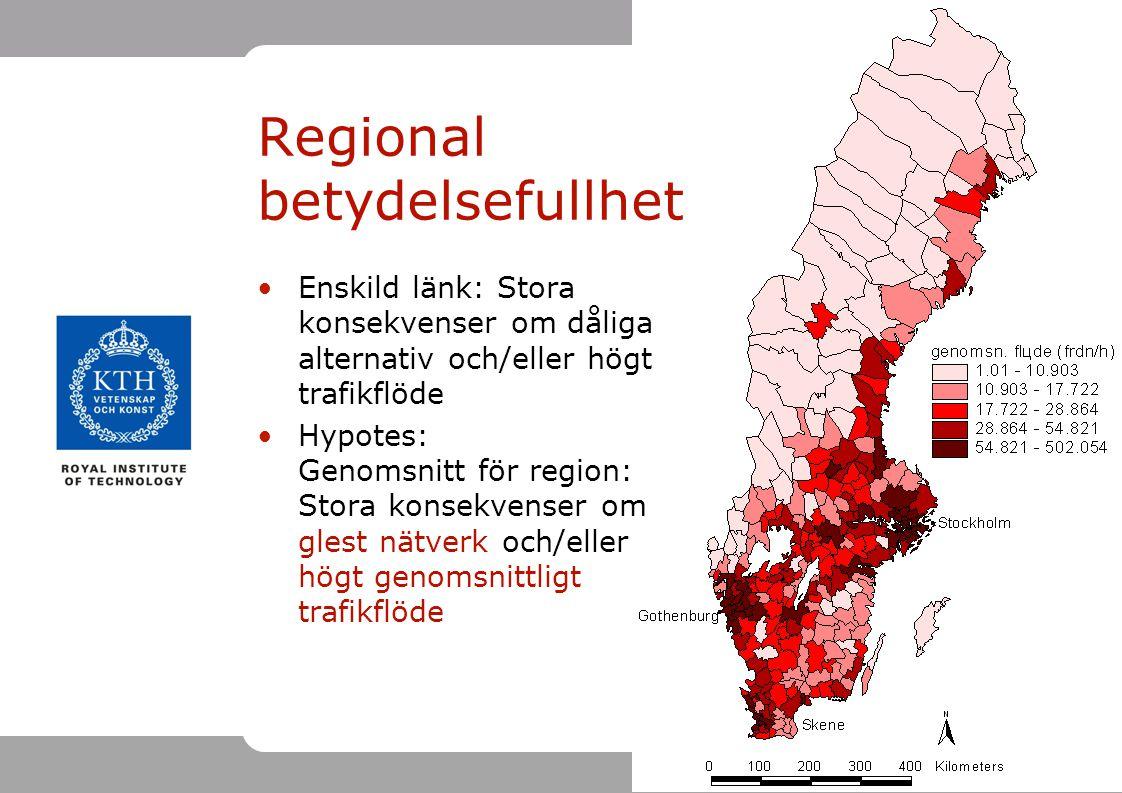 20 Regional betydelsefullhet Enskild länk: Stora konsekvenser om dåliga alternativ och/eller högt trafikflöde Hypotes: Genomsnitt för region: Stora ko