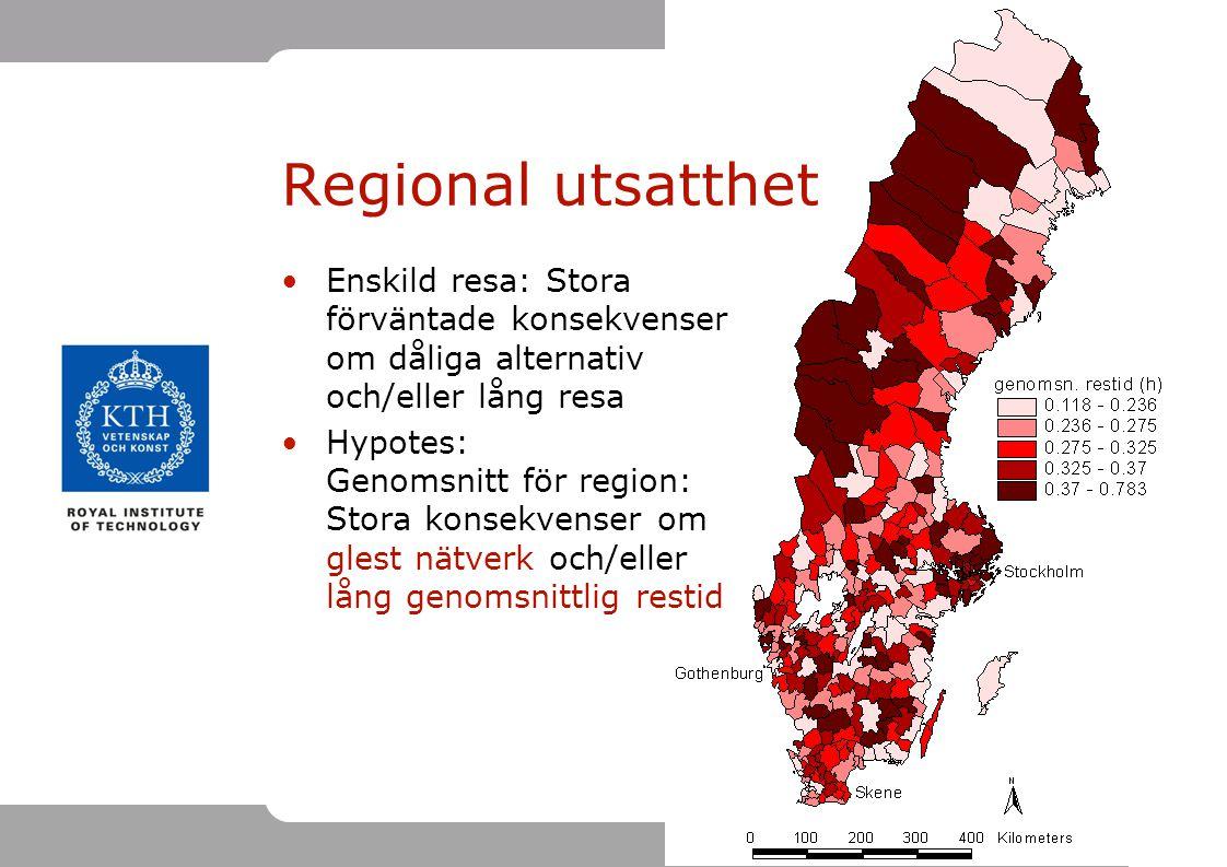 22 Regional utsatthet Enskild resa: Stora förväntade konsekvenser om dåliga alternativ och/eller lång resa Hypotes: Genomsnitt för region: Stora konse