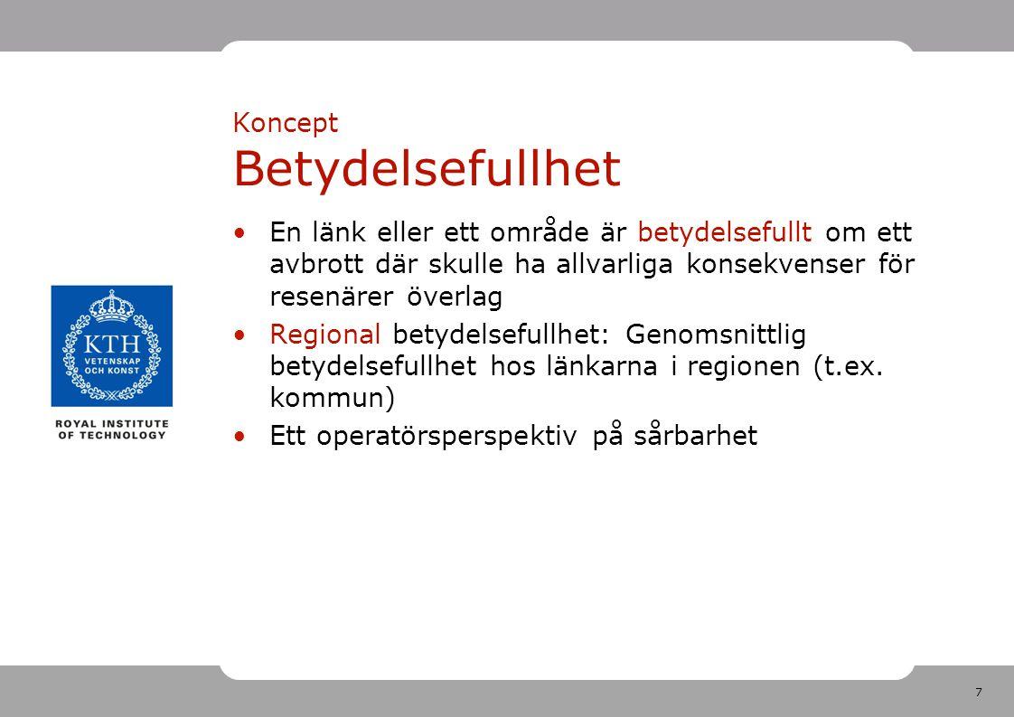 28 Resultat Förklaringsstyrkan ännu bättre på länsnivå (mindre beroende mellan regioner) Enklare mått på vägnätets täthet har lägre men OK förklaringsstyrka Nätverkstäthet eller resmönster var för sig ger betydligt sämre förklaringsstyrka Alltså: Genomsnittlig regional sårbarhet kan skattas med enkla indikatorer