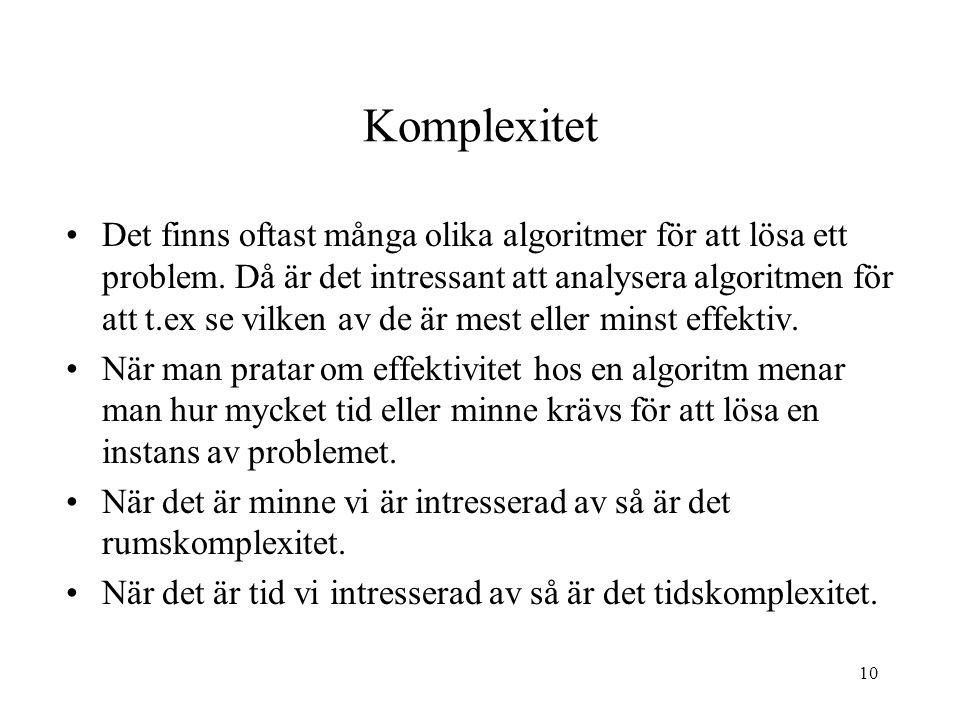 10 Komplexitet Det finns oftast många olika algoritmer för att lösa ett problem. Då är det intressant att analysera algoritmen för att t.ex se vilken