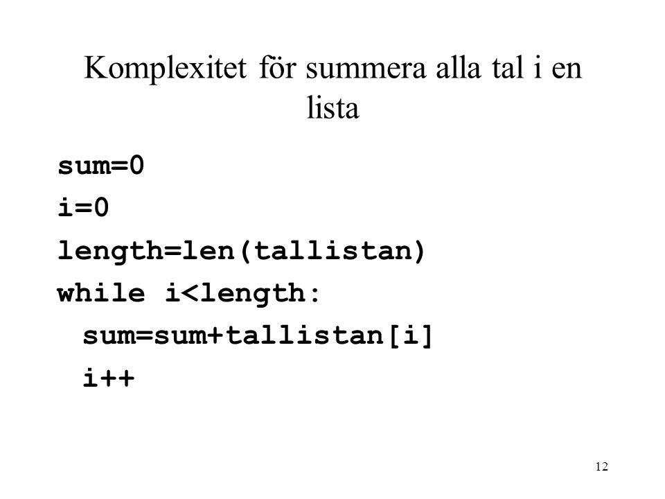 12 Komplexitet för summera alla tal i en lista sum=0 i=0 length=len(tallistan) while i<length: sum=sum+tallistan[i] i++