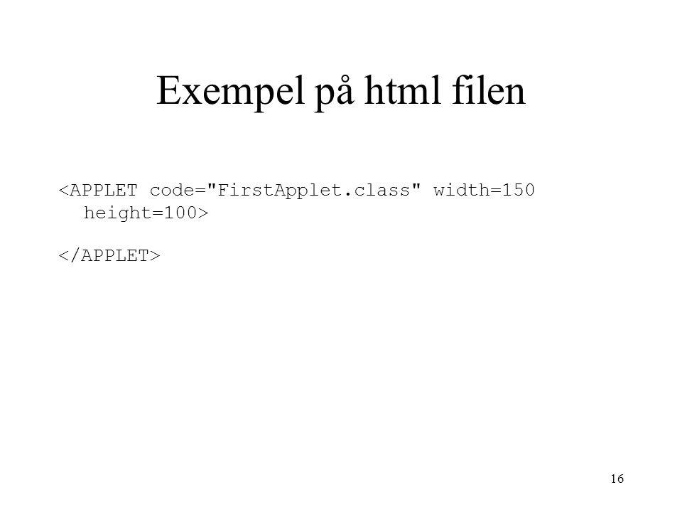 16 Exempel på html filen