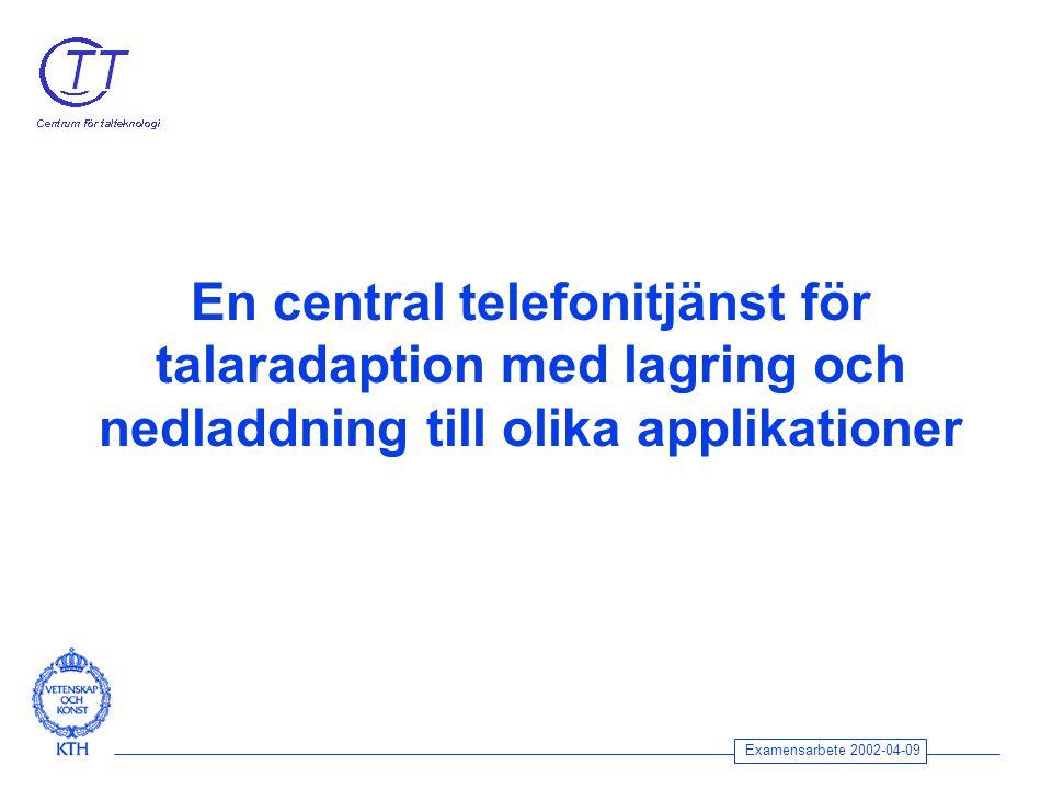 Examensarbete 2002-04-09 En central telefonitjänst för talaradaption med lagring och nedladdning till olika applikationer