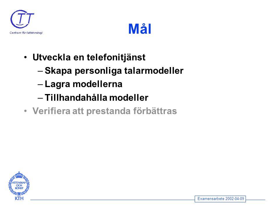 Examensarbete 2002-04-09 Mål Utveckla en telefonitjänst –Skapa personliga talarmodeller –Lagra modellerna –Tillhandahålla modeller Verifiera att prestanda förbättras