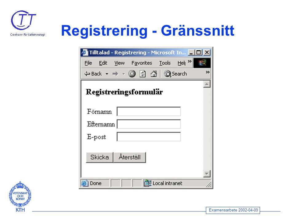 Examensarbete 2002-04-09 Registrering - Gränssnitt