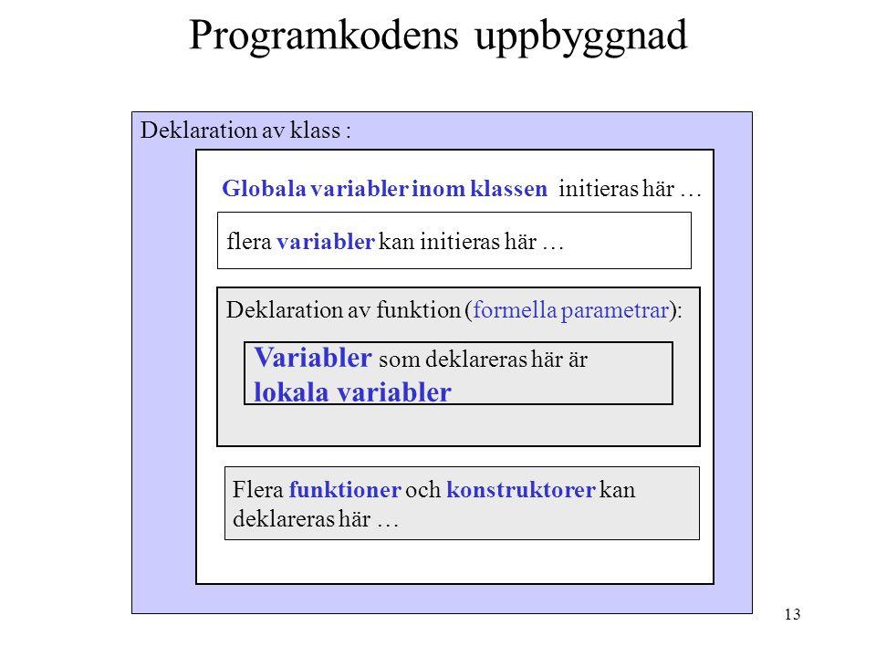 12 Klass och instans (objekt) En klass är en mall för ett objekt, exempel på klass:  Bil  konto Ett objekt är en instans av en klass, exempel på obj
