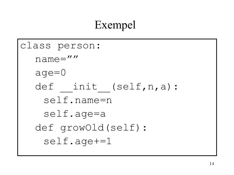 13 Deklaration av klass : Programkodens uppbyggnad Globala variabler inom klassen initieras här … Deklaration av funktion (formella parametrar): Varia