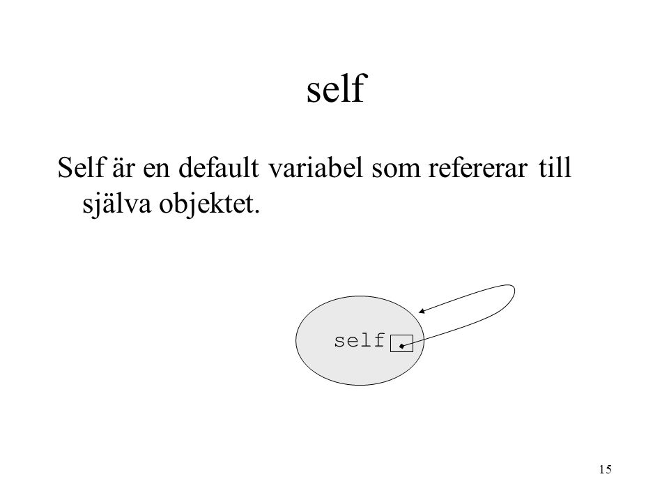 14 Exempel class person: name= age=0 def __init__(self,n,a): self.name=n self.age=a def growOld(self): self.age+=1