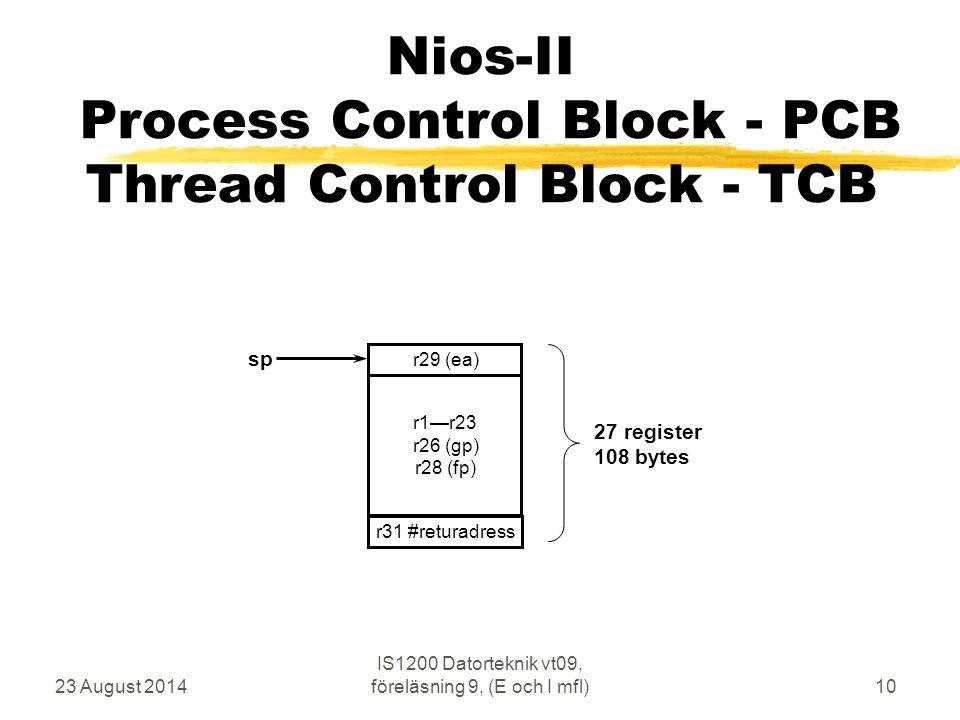 23 August 2014 IS1200 Datorteknik vt09, föreläsning 9, (E och I mfl)10 Nios-II Process Control Block - PCB Thread Control Block - TCB r1—r23 r26 (gp)