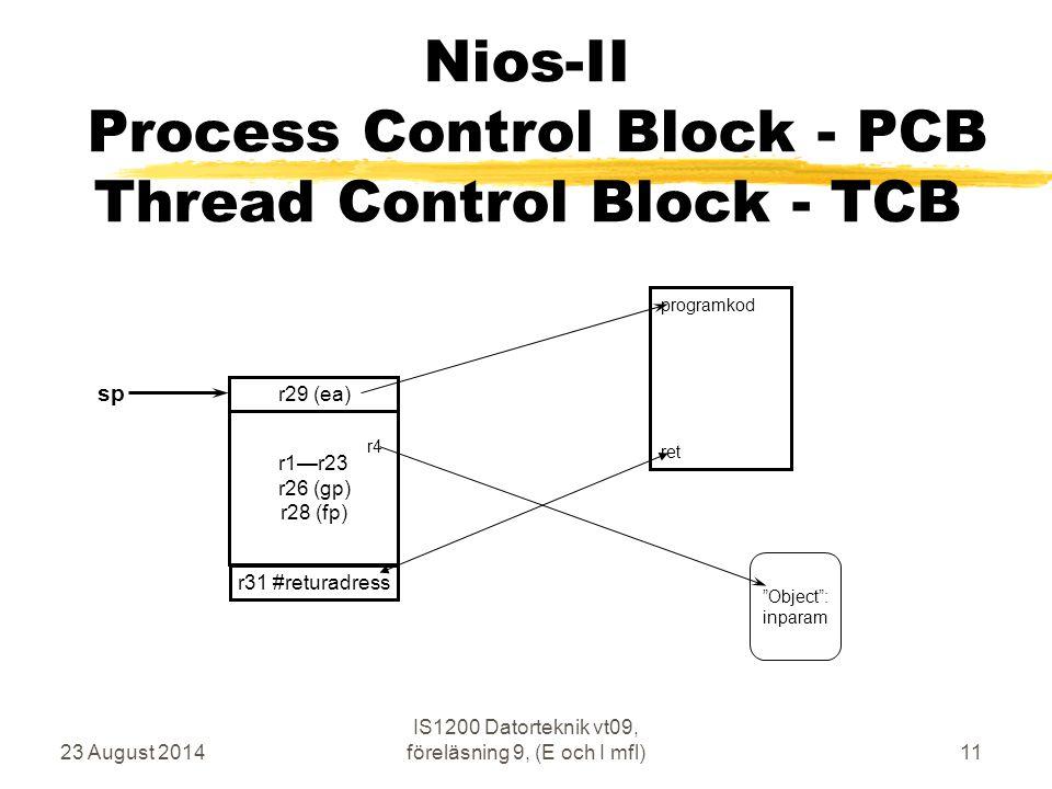 23 August 2014 IS1200 Datorteknik vt09, föreläsning 9, (E och I mfl)11 Nios-II Process Control Block - PCB Thread Control Block - TCB r1—r23 r26 (gp)