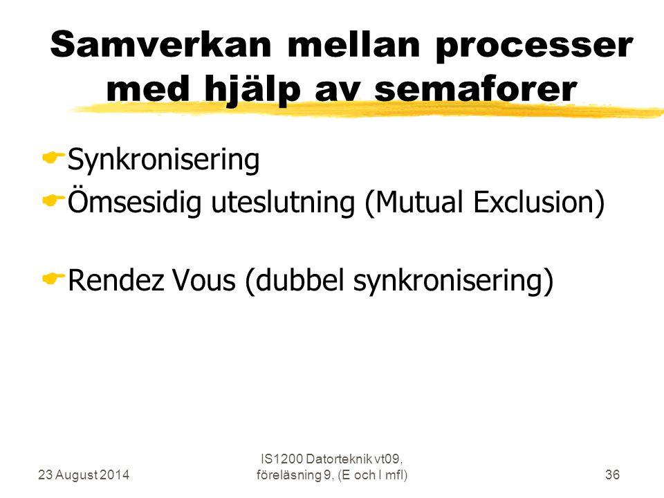 23 August 2014 IS1200 Datorteknik vt09, föreläsning 9, (E och I mfl)36 Samverkan mellan processer med hjälp av semaforer  Synkronisering  Ömsesidig