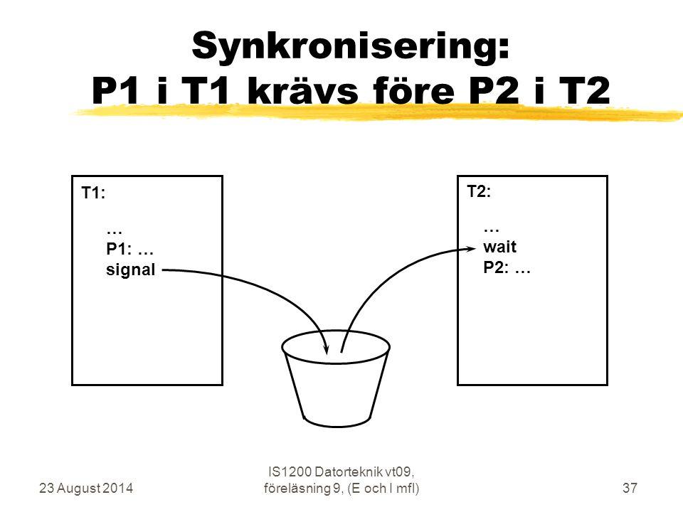 23 August 2014 IS1200 Datorteknik vt09, föreläsning 9, (E och I mfl)37 Synkronisering: P1 i T1 krävs före P2 i T2 … P1: … signal … wait P2: … T1: T2: