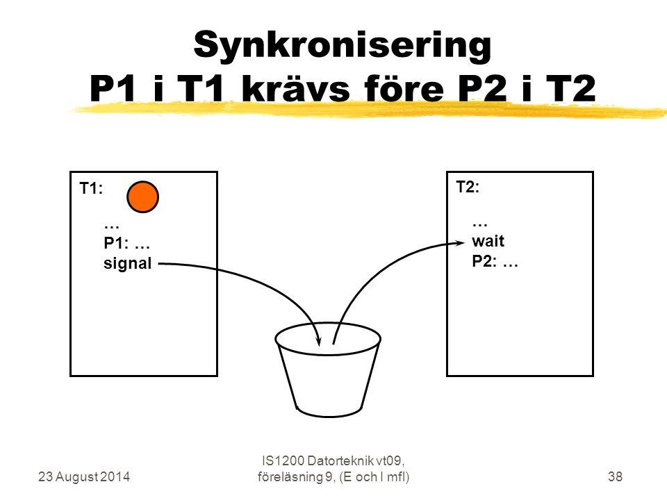 23 August 2014 IS1200 Datorteknik vt09, föreläsning 9, (E och I mfl)38 Synkronisering P1 i T1 krävs före P2 i T2 … P1: … signal … wait P2: … T1: T2: