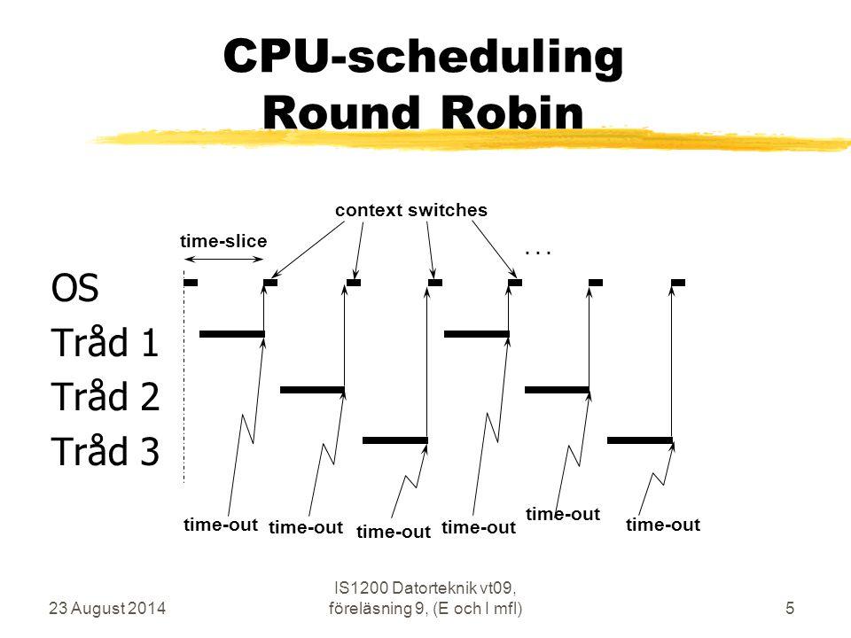 23 August 2014 IS1200 Datorteknik vt09, föreläsning 9, (E och I mfl)5 CPU-scheduling Round Robin OS Tråd 1 Tråd 2 Tråd 3 time-slice time-out context s