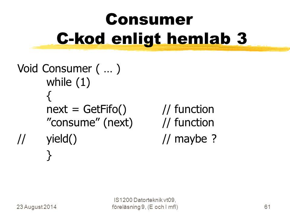 23 August 2014 IS1200 Datorteknik vt09, föreläsning 9, (E och I mfl)61 Consumer C-kod enligt hemlab 3 Void Consumer ( … ) while (1) { next = GetFifo()