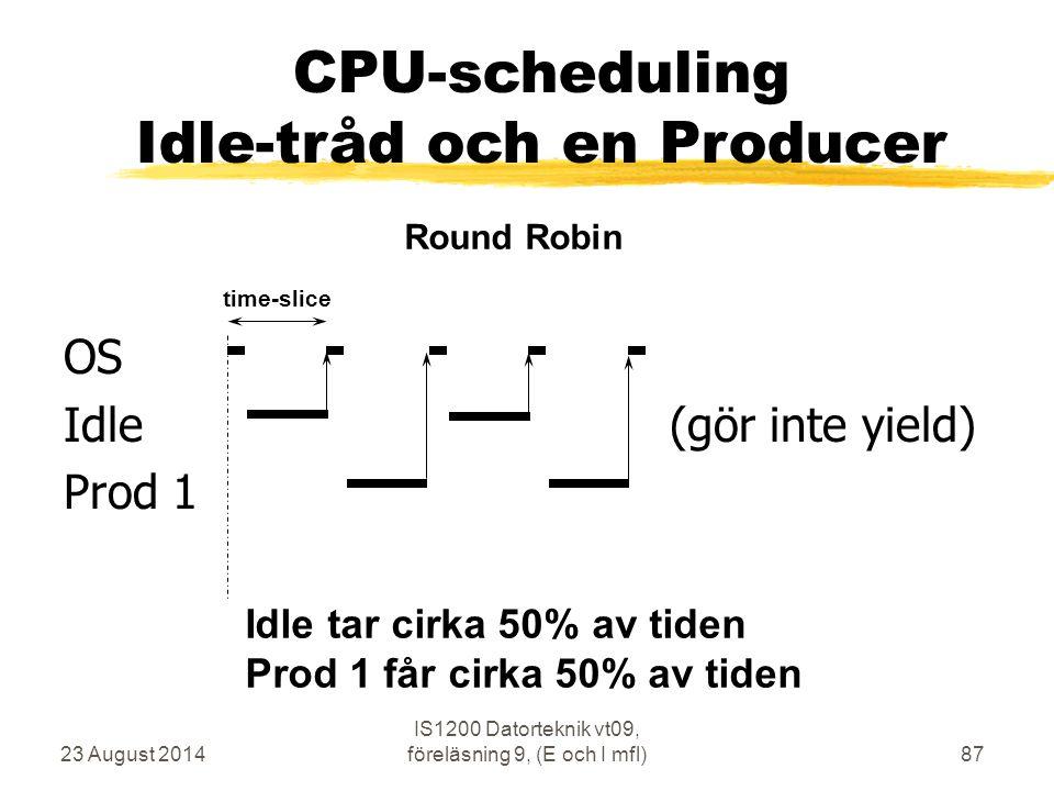 23 August 2014 IS1200 Datorteknik vt09, föreläsning 9, (E och I mfl)87 OS Idle (gör inte yield) Prod 1 time-slice Round Robin CPU-scheduling Idle-tråd