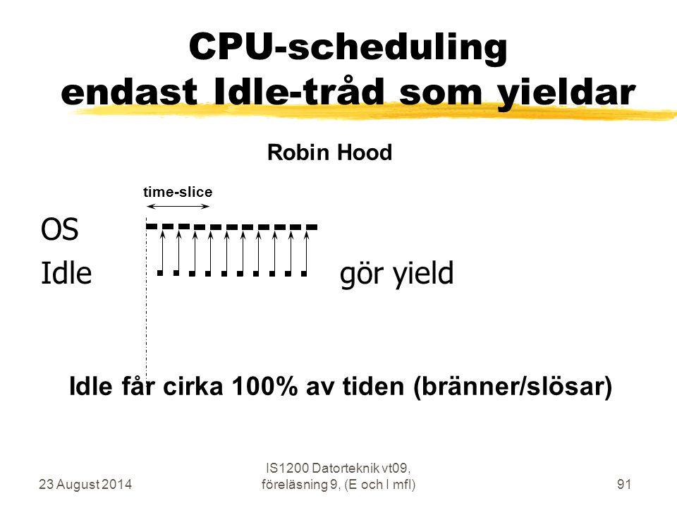 23 August 2014 IS1200 Datorteknik vt09, föreläsning 9, (E och I mfl)91 CPU-scheduling endast Idle-tråd som yieldar OS Idle gör yield time-slice Robin