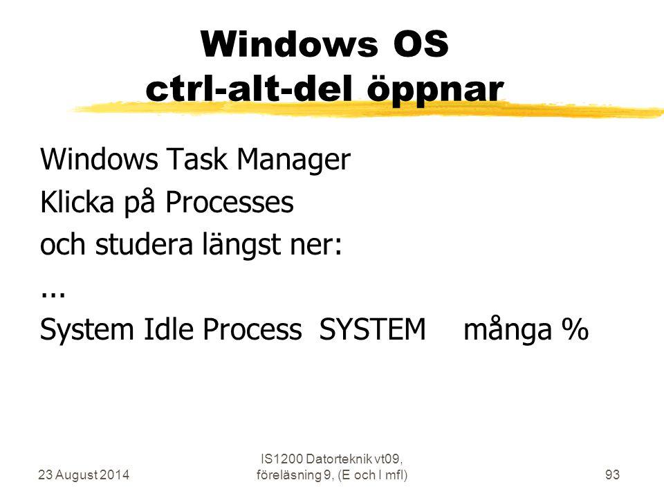 23 August 2014 IS1200 Datorteknik vt09, föreläsning 9, (E och I mfl)93 Windows OS ctrl-alt-del öppnar Windows Task Manager Klicka på Processes och stu