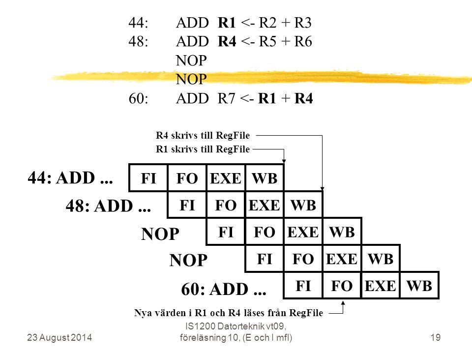 23 August 2014 IS1200 Datorteknik vt09, föreläsning 10, (E och I mfl)19 44: ADD...