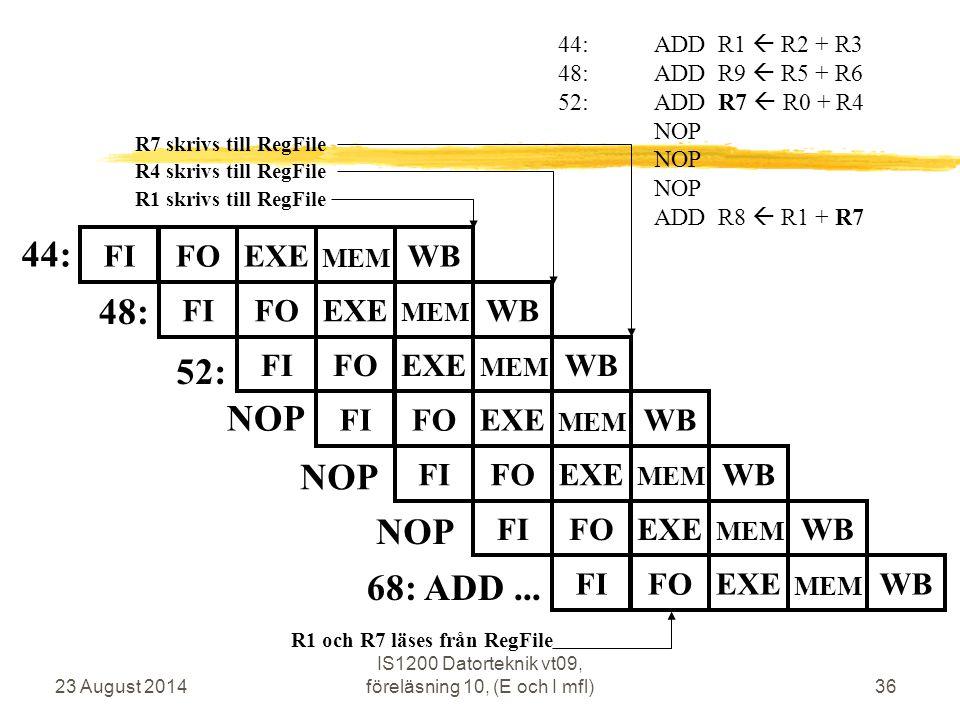 23 August 2014 IS1200 Datorteknik vt09, föreläsning 10, (E och I mfl)36 44: 48: 44:ADD R1  R2 + R3 48:ADD R9  R5 + R6 52:ADD R7  R0 + R4 NOP ADD R8  R1 + R7 52: R4 skrivs till RegFile R1 och R7 läses från RegFile R1 skrivs till RegFile FIFOEXEWB MEM FIFOEXEWB MEM FIFOEXEWB MEM FIFOEXEWB MEM R7 skrivs till RegFile 68: ADD...