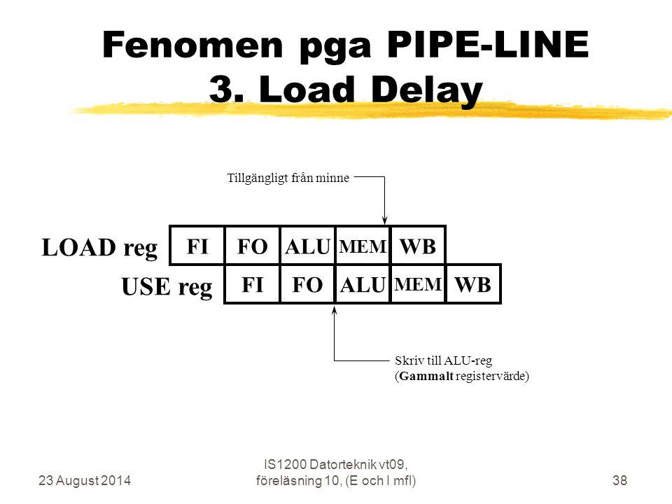 23 August 2014 IS1200 Datorteknik vt09, föreläsning 10, (E och I mfl)38 Fenomen pga PIPE-LINE 3.