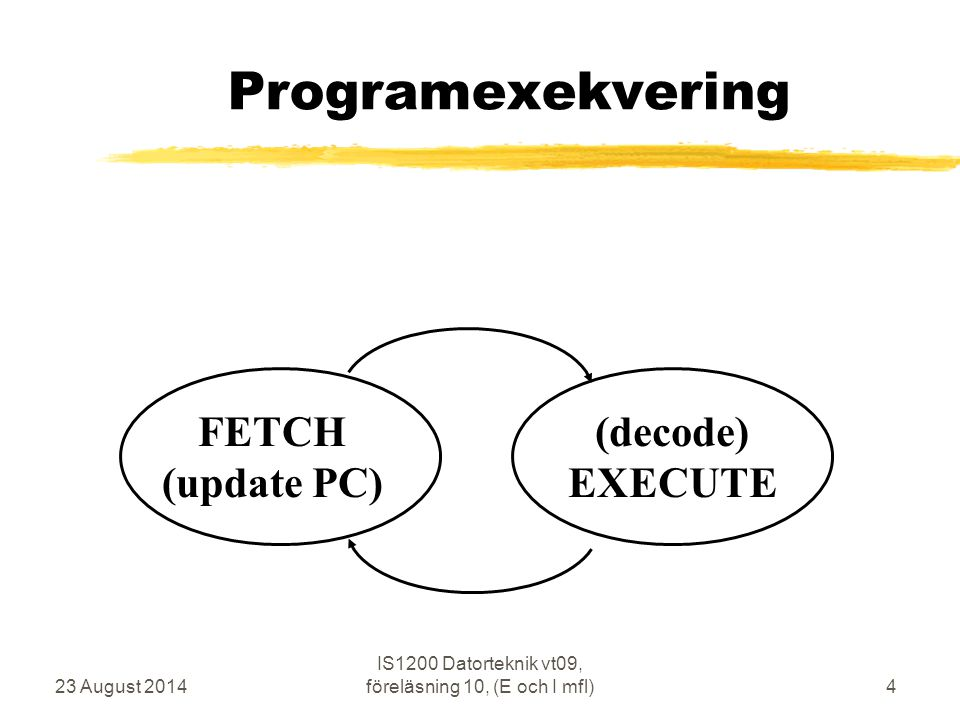 23 August 2014 IS1200 Datorteknik vt09, föreläsning 10, (E och I mfl)4 Programexekvering FETCH (update PC) (decode) EXECUTE