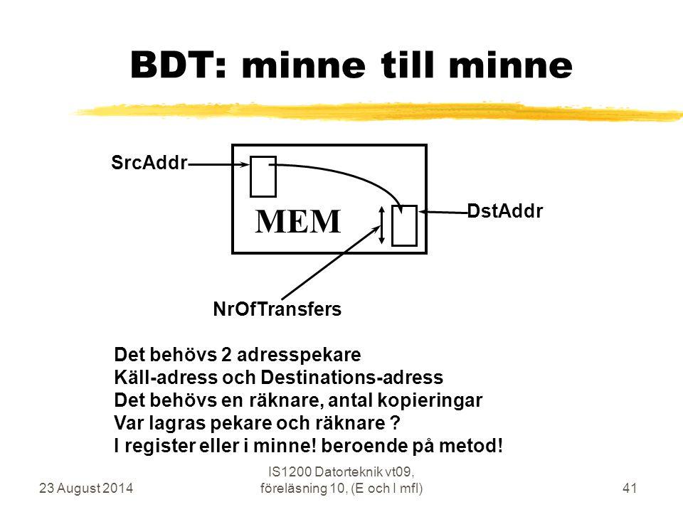 23 August 2014 IS1200 Datorteknik vt09, föreläsning 10, (E och I mfl)41 BDT: minne till minne MEM SrcAddr NrOfTransfers DstAddr Det behövs 2 adresspekare Käll-adress och Destinations-adress Det behövs en räknare, antal kopieringar Var lagras pekare och räknare .