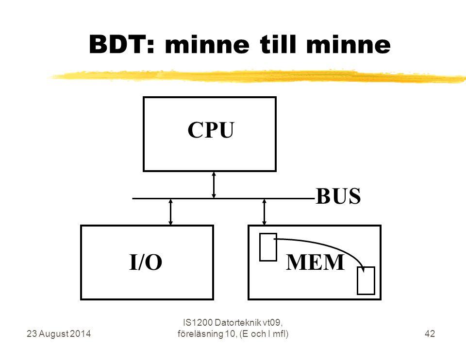 23 August 2014 IS1200 Datorteknik vt09, föreläsning 10, (E och I mfl)42 BDT: minne till minne CPU MEM BUS I/O
