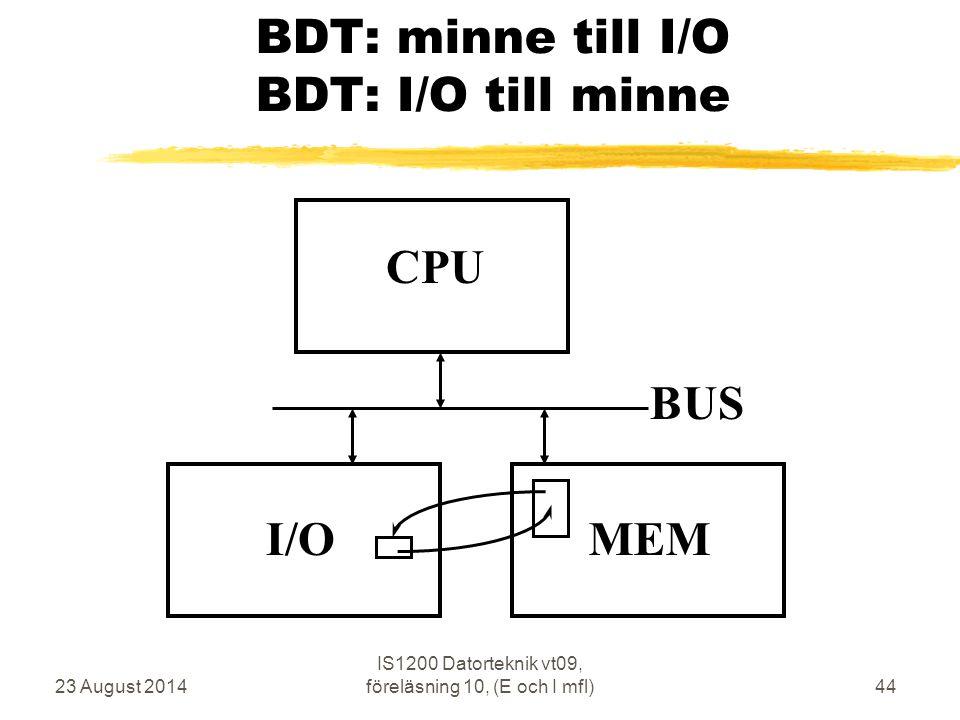 23 August 2014 IS1200 Datorteknik vt09, föreläsning 10, (E och I mfl)44 BDT: minne till I/O BDT: I/O till minne CPU MEM BUS I/O