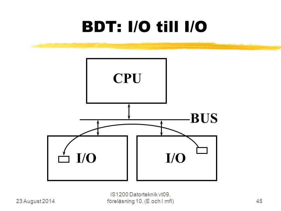 23 August 2014 IS1200 Datorteknik vt09, föreläsning 10, (E och I mfl)45 BDT: I/O till I/O CPU BUS I/O