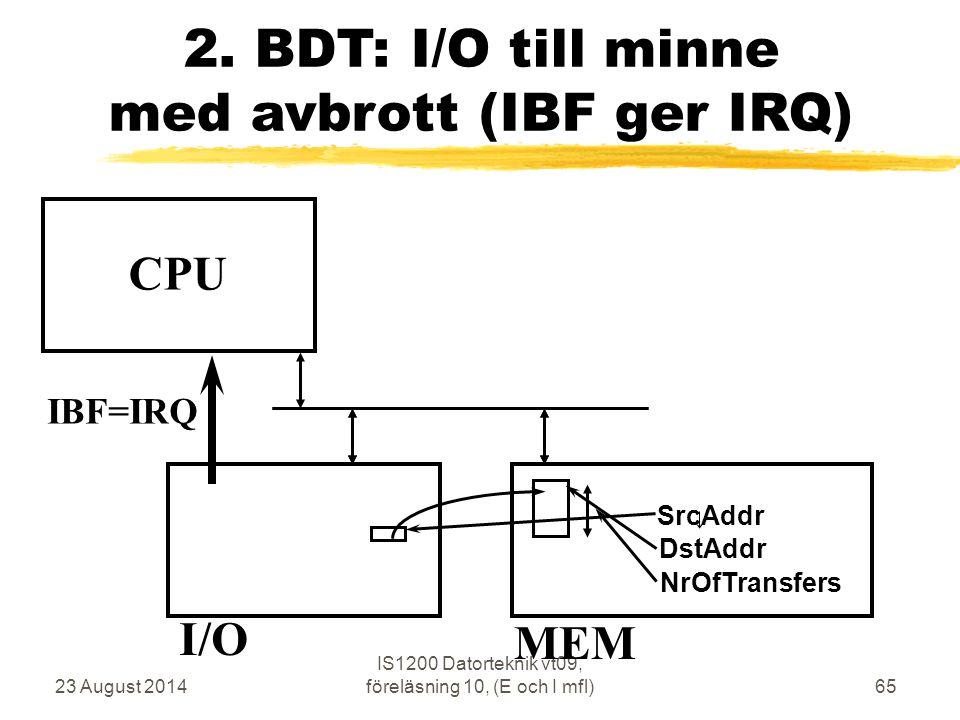 23 August 2014 IS1200 Datorteknik vt09, föreläsning 10, (E och I mfl)65 2.