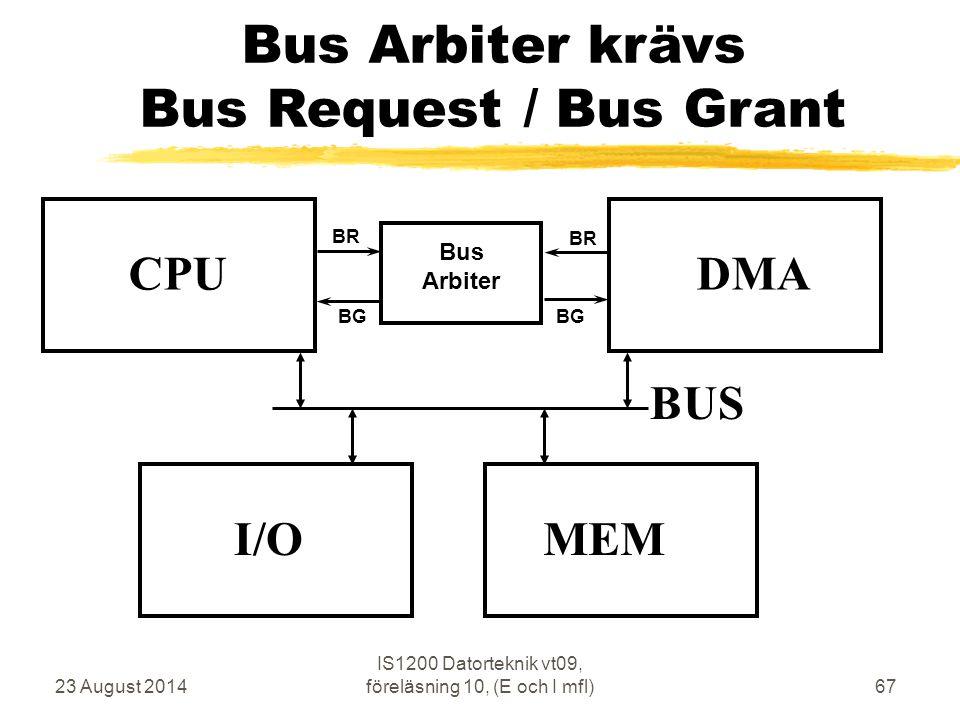 23 August 2014 IS1200 Datorteknik vt09, föreläsning 10, (E och I mfl)67 Bus Arbiter krävs Bus Request / Bus Grant CPU MEM BUS I/O DMA Bus Arbiter BR BG