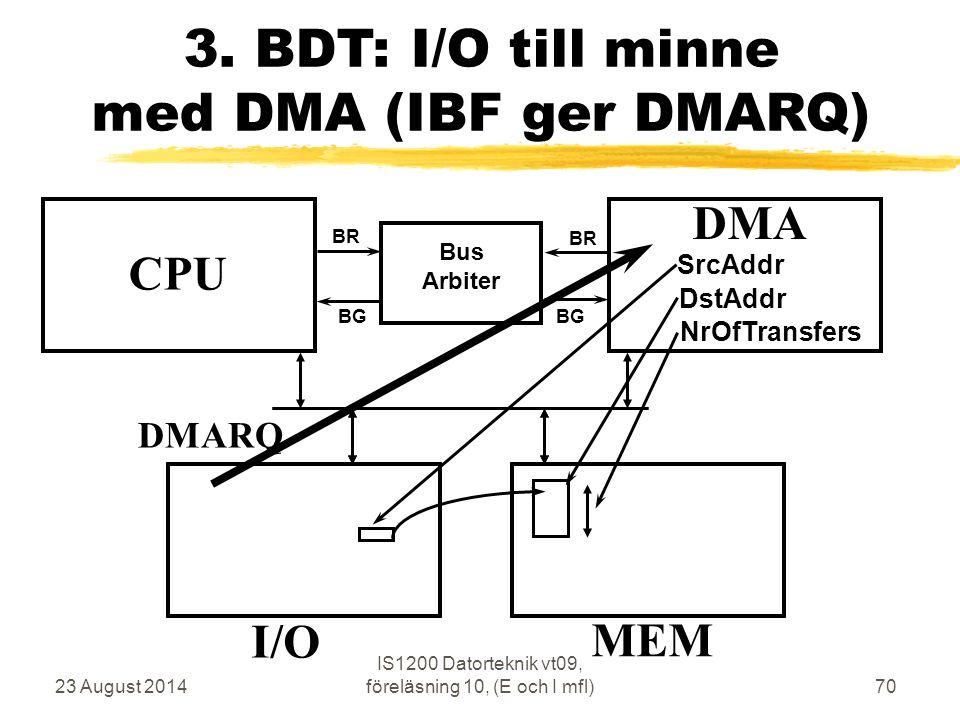 23 August 2014 IS1200 Datorteknik vt09, föreläsning 10, (E och I mfl)70 3.