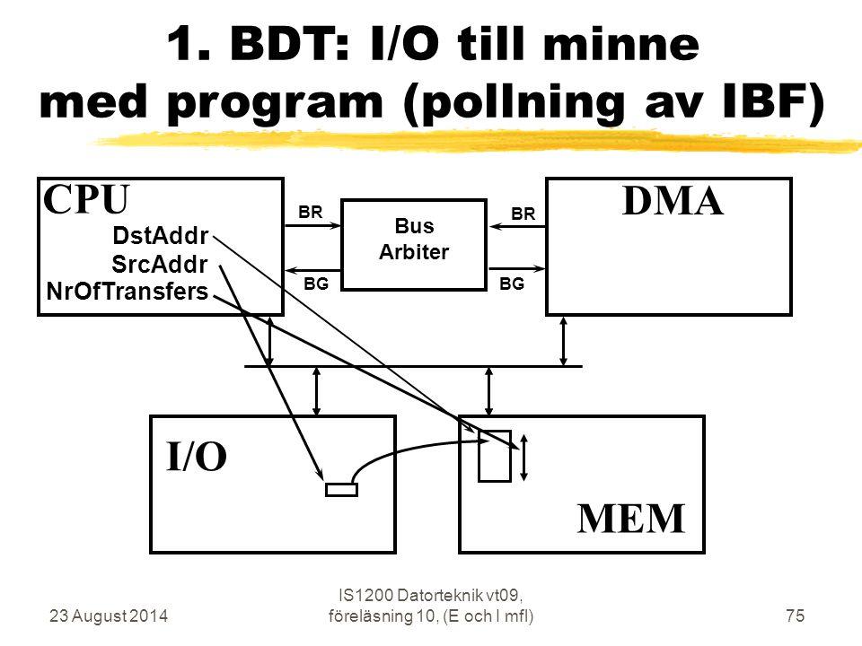 23 August 2014 IS1200 Datorteknik vt09, föreläsning 10, (E och I mfl)75 1.