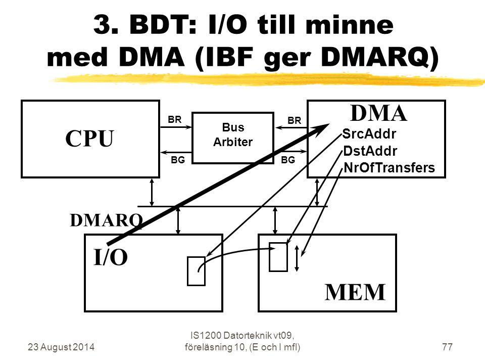 23 August 2014 IS1200 Datorteknik vt09, föreläsning 10, (E och I mfl)77 3.