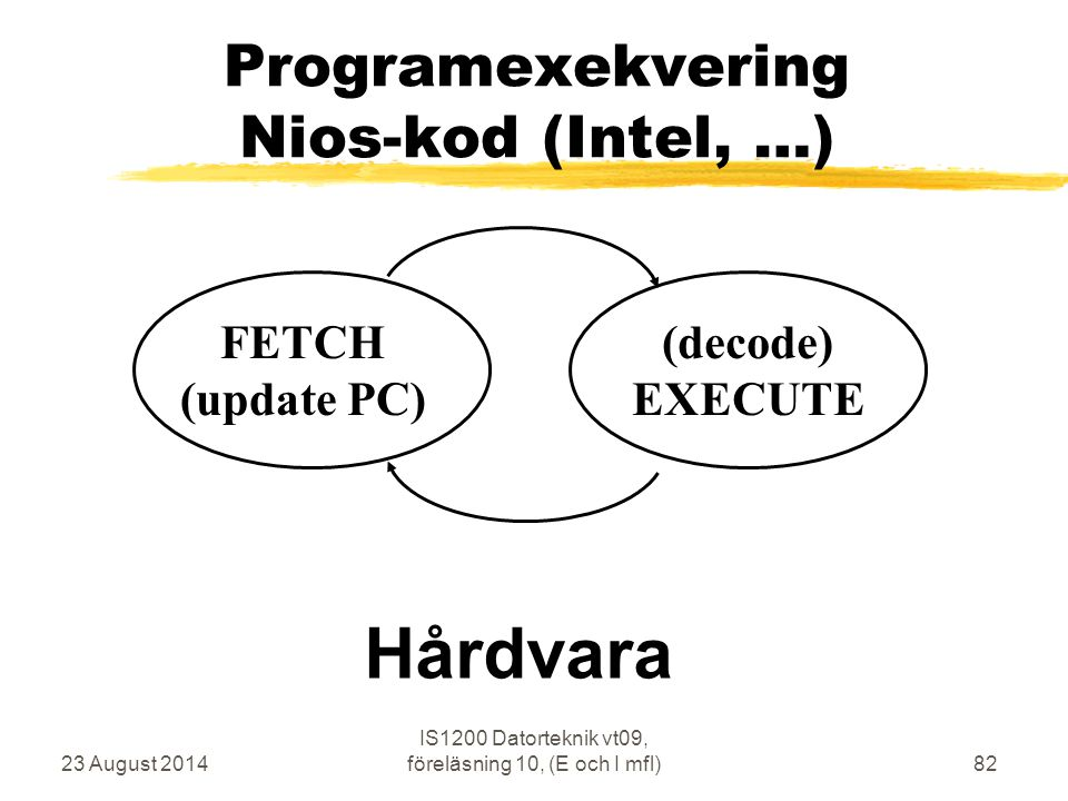 23 August 2014 IS1200 Datorteknik vt09, föreläsning 10, (E och I mfl)82 Programexekvering Nios-kod (Intel, …) FETCH (update PC) (decode) EXECUTE Hårdv