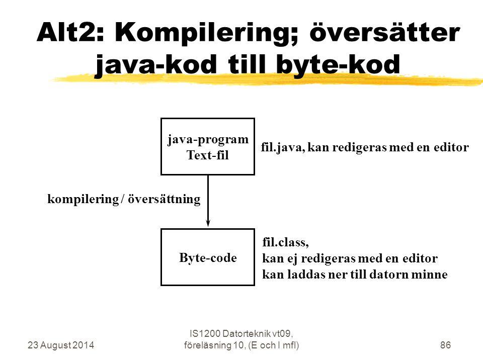 23 August 2014 IS1200 Datorteknik vt09, föreläsning 10, (E och I mfl)86 Alt2: Kompilering; översätter java-kod till byte-kod java-program Text-fil Byte-code kompilering / översättning fil.java, kan redigeras med en editor fil.class, kan ej redigeras med en editor kan laddas ner till datorn minne