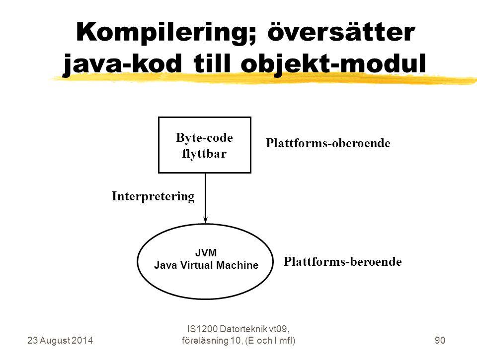 23 August 2014 IS1200 Datorteknik vt09, föreläsning 10, (E och I mfl)90 Kompilering; översätter java-kod till objekt-modul Interpretering Plattforms-oberoende Byte-code flyttbar JVM Java Virtual Machine Plattforms-beroende