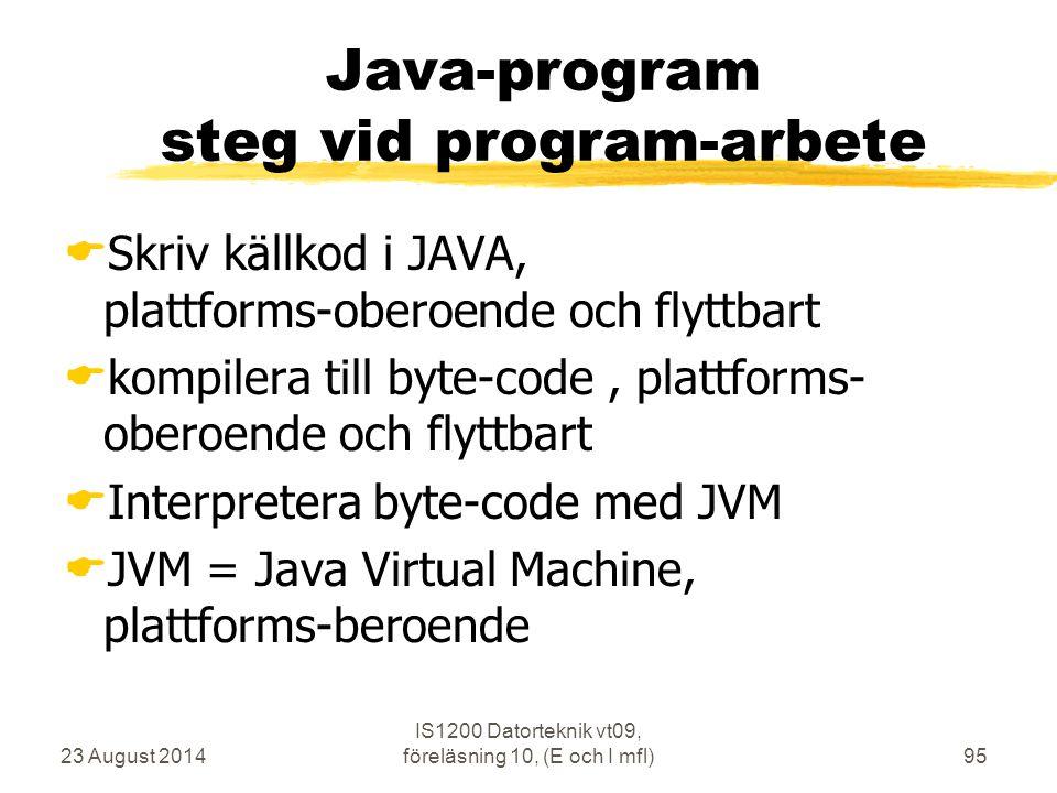 23 August 2014 IS1200 Datorteknik vt09, föreläsning 10, (E och I mfl)95 Java-program steg vid program-arbete  Skriv källkod i JAVA, plattforms-oberoende och flyttbart  kompilera till byte-code, plattforms- oberoende och flyttbart  Interpretera byte-code med JVM  JVM = Java Virtual Machine, plattforms-beroende