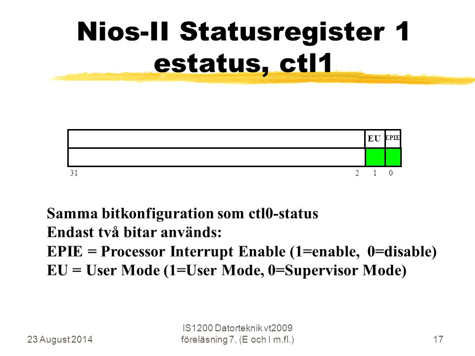 23 August 2014 IS1200 Datorteknik vt2009 föreläsning 7, (E och I m.fl.)17 Nios-II Statusregister 1 estatus, ctl1 31 2 1 0 EU EPIE Samma bitkonfiguration som ctl0-status Endast två bitar används: EPIE = Processor Interrupt Enable (1=enable, 0=disable) EU = User Mode (1=User Mode, 0=Supervisor Mode)