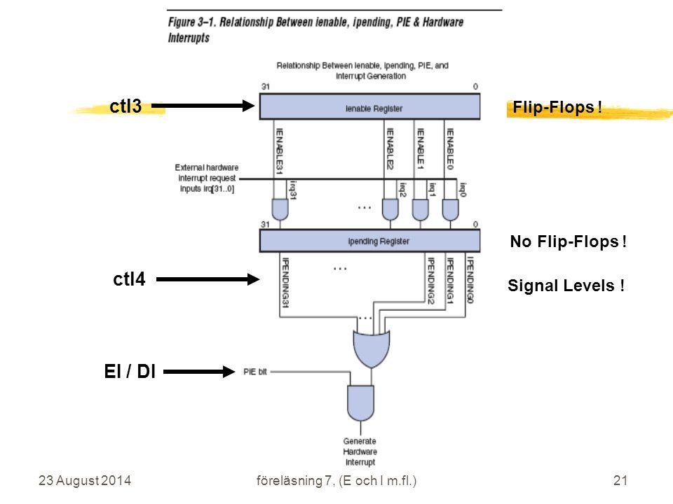 23 August 2014 IS1200 Datorteknik vt2009 föreläsning 7, (E och I m.fl.)21 ctl3 ctl4 No Flip-Flops .