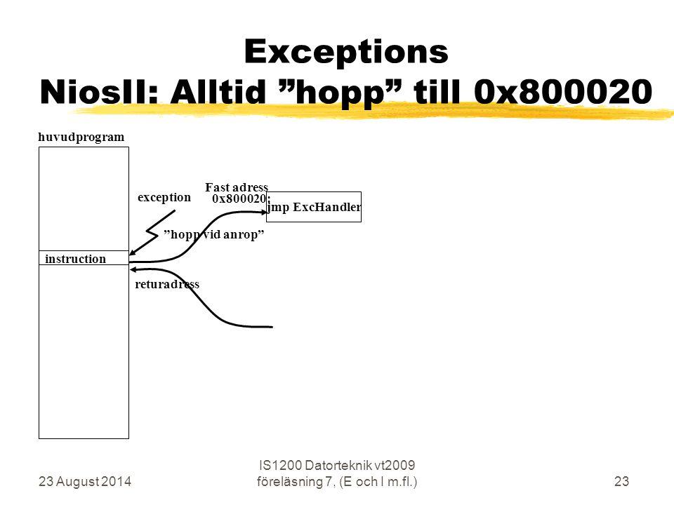 23 August 2014 IS1200 Datorteknik vt2009 föreläsning 7, (E och I m.fl.)23 Exceptions NiosII: Alltid hopp till 0x800020 huvudprogram returadress hopp vid anrop exception instruction jmp ExcHandler 0x800020: Fast adress