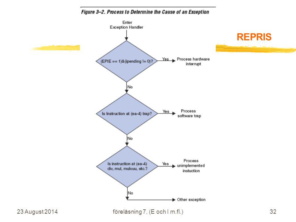 23 August 2014 IS1200 Datorteknik vt2009 föreläsning 7, (E och I m.fl.)32 REPRIS