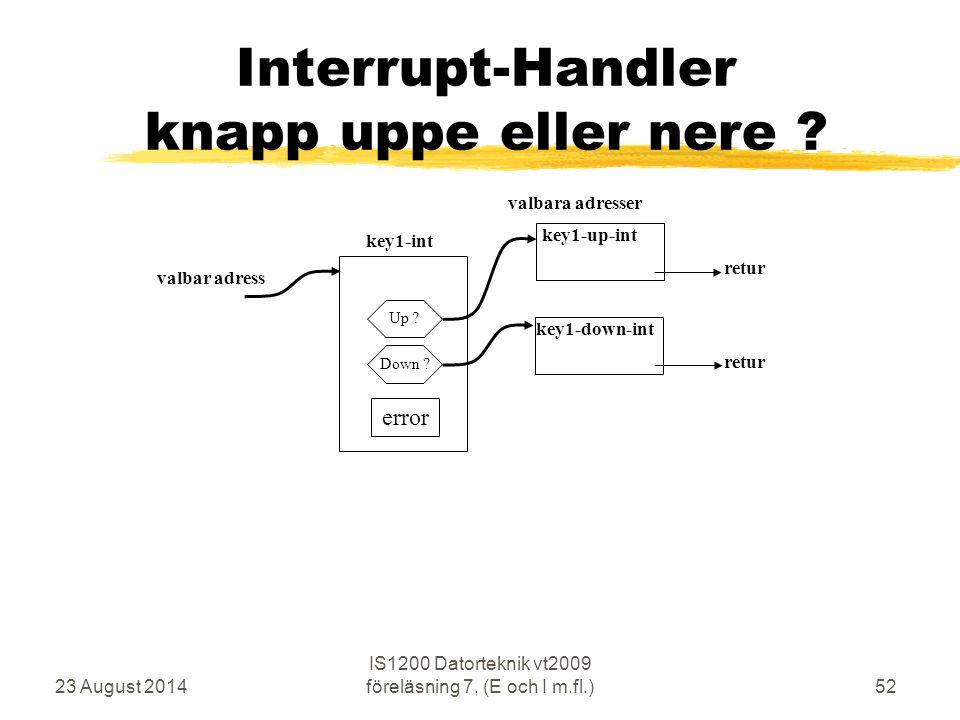 23 August 2014 IS1200 Datorteknik vt2009 föreläsning 7, (E och I m.fl.)52 Interrupt-Handler knapp uppe eller nere .